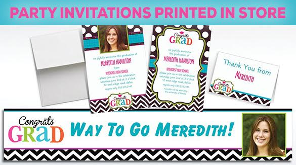 Party Invitations Printed In-Store